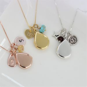 Personalised Teardrop Locket With Birthstones - necklaces & pendants