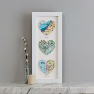 Three Personalised Map Heart Print - frequent traveller