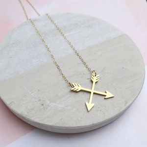 24k Gold Plated Crossed Arrows Necklace - jewellery sale
