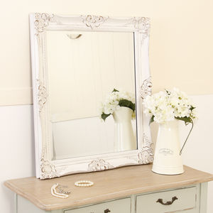 White Wooden Amelie Carved Mirror