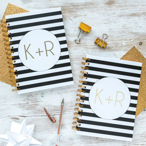 Pair Of Personalised Couples Initials Notebooks - valentine's gifts for him