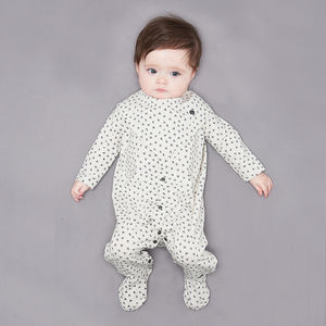 'Sleepy' Organic Cotton Baby Sleepsuit