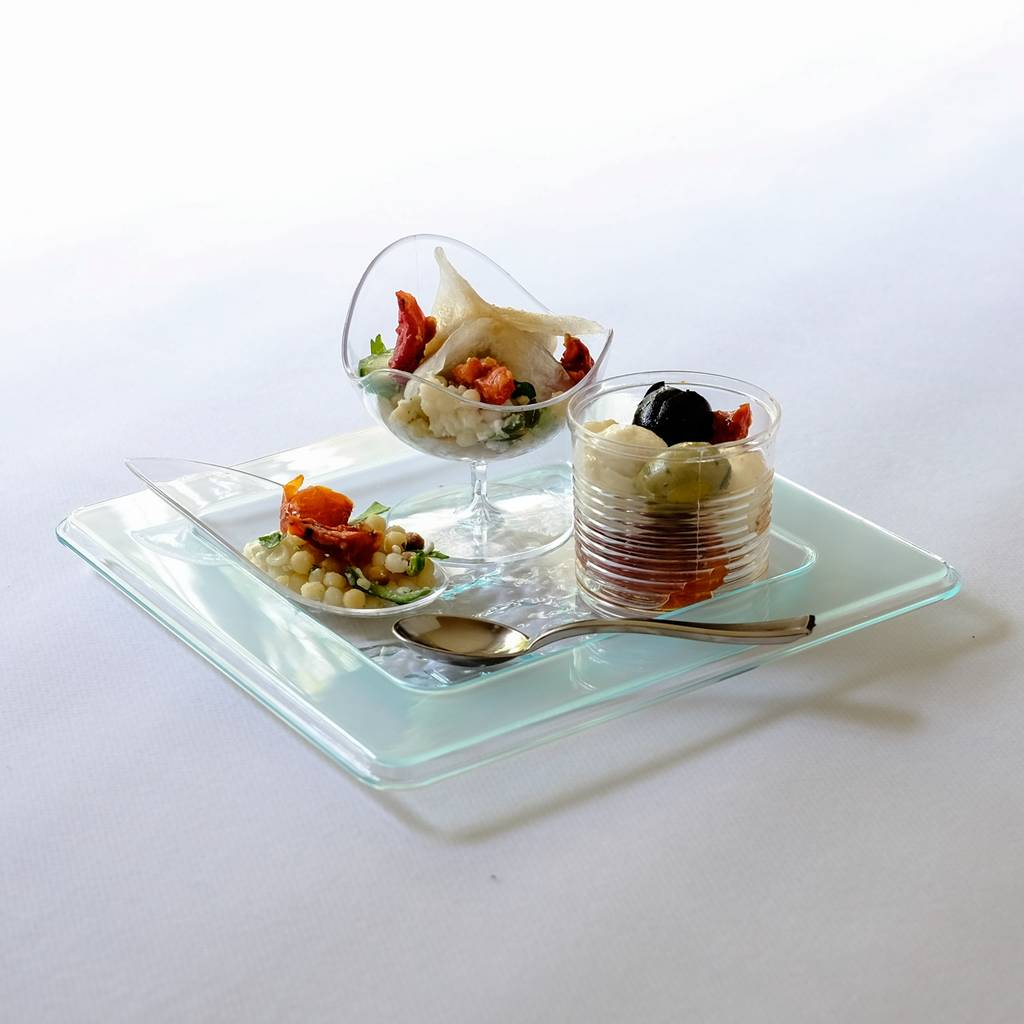 Glass effect canape plates elegant party tableware by for What is a canape plate