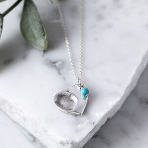 Silver Fingerprint And Birthstone Heart Charm Necklace