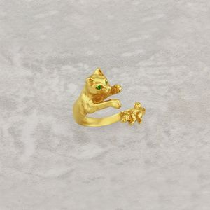 Cat And Mouse Ring In Solid Gold