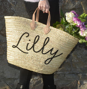 Personalised Name Straw Basket Beach Bag - gifts for her