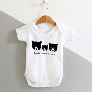 Bear Family, Personalised Baby Grow - babygrows