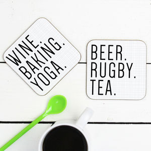 Personalised 'Favourite Things' Drink Coasters