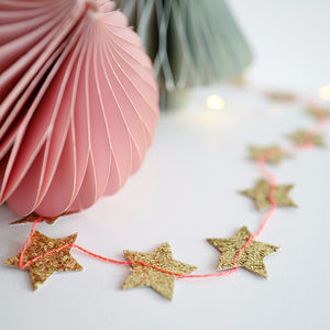 Glitter Gold Star Or Pastel Stripe Glitter Garland - garlands & bunting