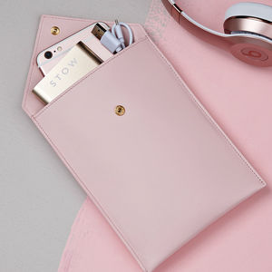 Personalised Ladies Leather Travel Wallet And Powerbank
