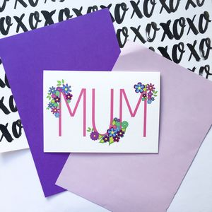 Colourful Mum Floral Typography Mother's Day Card