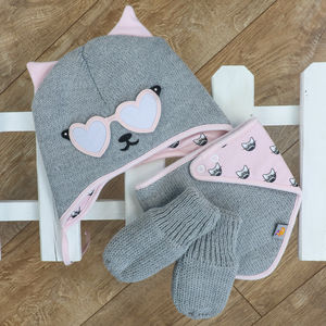 Knitted Cat Gift Set Hat Bib And Gloves Pink And Grey - babies' hats