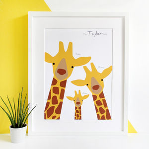 Personalised Giraffe Family Selfie Portrait Print - baby's room
