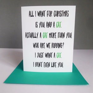 Funny Cat Christmas Card - cards & wrap