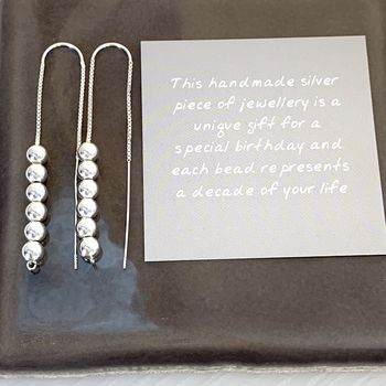 60th Birthday Beads Threader Earrings