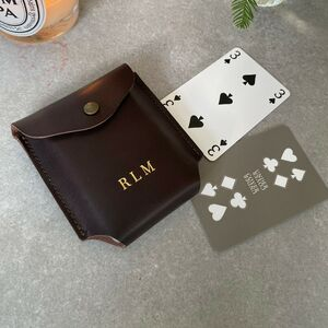 Personalised Leather Playing Card Case And Cards