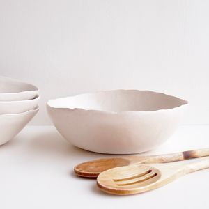 Handmade Satin White Pottery Ceramic Serving Bowl - fruit bowls