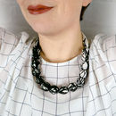 Chunky, Fabric Covered, Bead Necklace 'Branches'