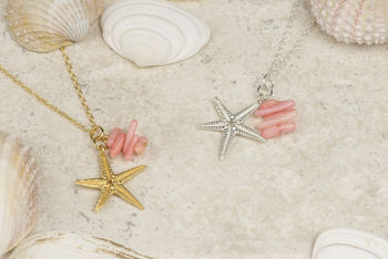 Starfish And Coral Charm Pendant