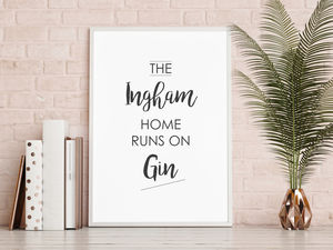 Personalised Family Name Gin Print