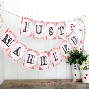 Just Married Bunting, Wedding Decoration - room decorations