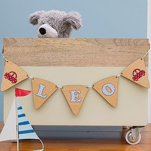 Personalised Child's Wooden Bunting - baby's room