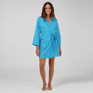 Short Cotton Robe In Turquoise Lilypad Print