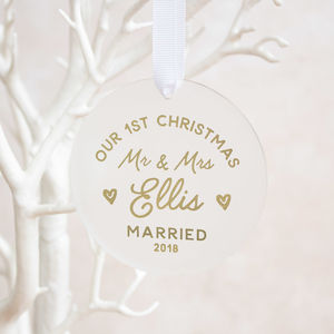 Our First Christmas Newlywed Decoration - personalised