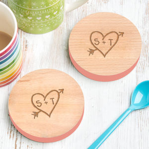 Two Personalised Carved Heart Couples Coasters - 5th anniversary: wood