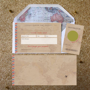 Vintage Scratch Off Boarding Pass Travel Gift - personalised cards