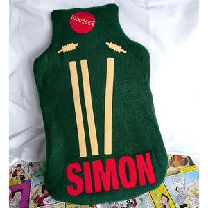 Cricket Personalised Fleece Hot Water Bottle Cover