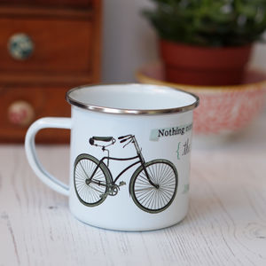 Simple Pleasure Bicycle Quote Enamel Mug - view all new