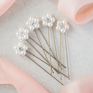 Set Of Five Pearl And Crystal Flower Hairpins - wedding fashion
