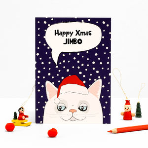 Christmas Personalised White Cat Greeting Card Or Pack