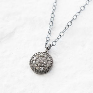 Pave Diamond Silver Necklace - april birthstone