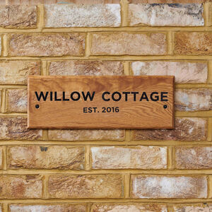 Personalised Oak Exterior House Name Sign