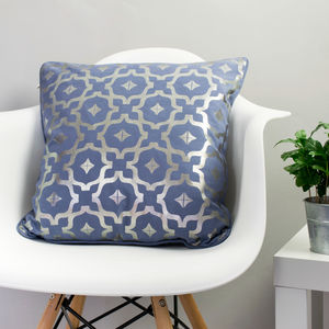 Metallic Cushion In Blue And Gunmetal