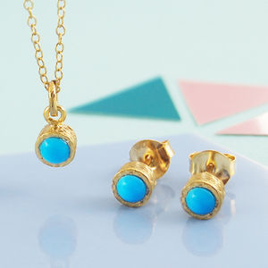 Round Turquoise Gemstone Gold Jewellery Gift Set - december birthstone