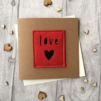Love Heart Birthday Felt Card