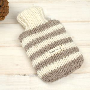 Personalised Stripe Mini Hot Water Bottle And Cover