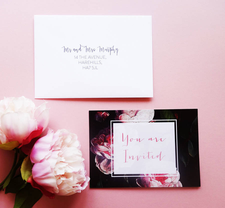 Write Your Own Wedding Invitations: Write Your Own Modern Floral Wedding Invitations By Cj