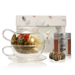 Flowering Tea For One Gift Set With Glass Teapot