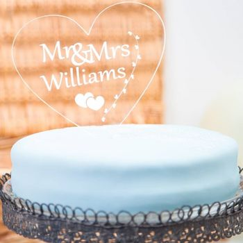Mr And Mrs Personalised Heart Wedding Cake Toppers