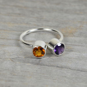Amethyst And Citrine Friendship Ring