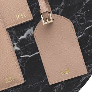 Personalised Real Leather Luggage Tag Set Of Two