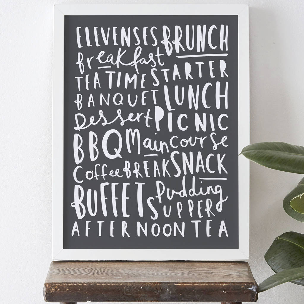 Meal Names Kitchen Print By Old English Company Notonthehighstreet Com