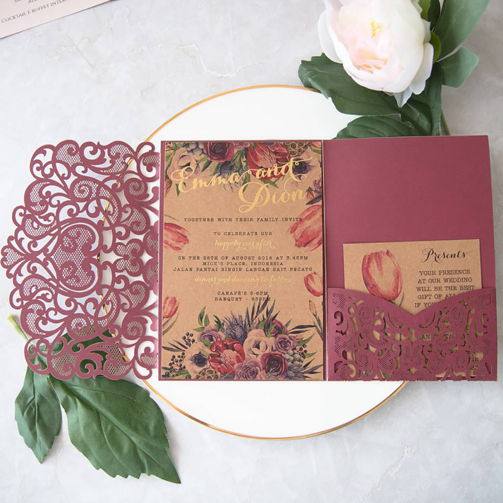 Love Heart Tri Fold Laser Cut Pocket Opening Invitation By Shindigg
