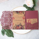 Love Heart Tri Fold Laser Cut Pocket Opening Invitation