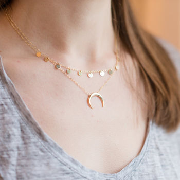 Gold Vermeil Crescent Moon Necklace layered with Carina Gold Vermeil Circles Necklace