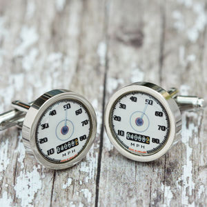 Personalised Cream Car Speedometer Cufflinks